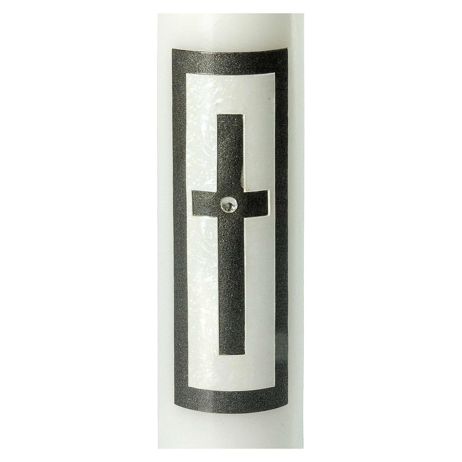 Candela funebre croce latina nera strass 265x60 mm 3