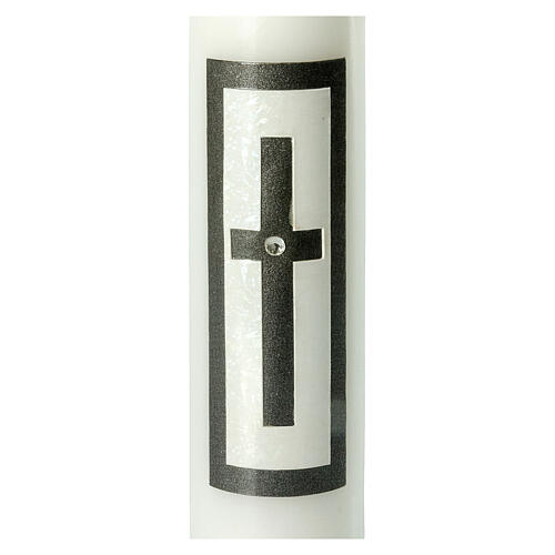 Candela funebre croce latina nera strass 265x60 mm 2