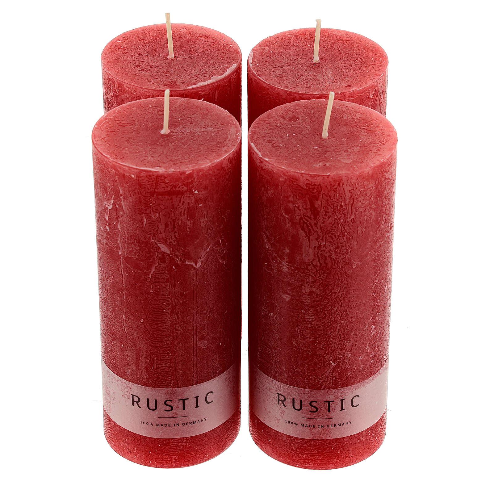 Kerzen rustikaler Stil 4 Stück rot, 170x70 mm 3