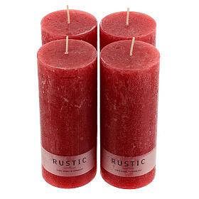 Kerzen rustikaler Stil 4 Stück rot, 170x70 mm s1