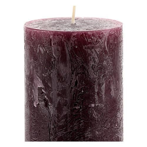 Kerzen rustikaler Stil 4 Stück violett, 170x70 mm 3