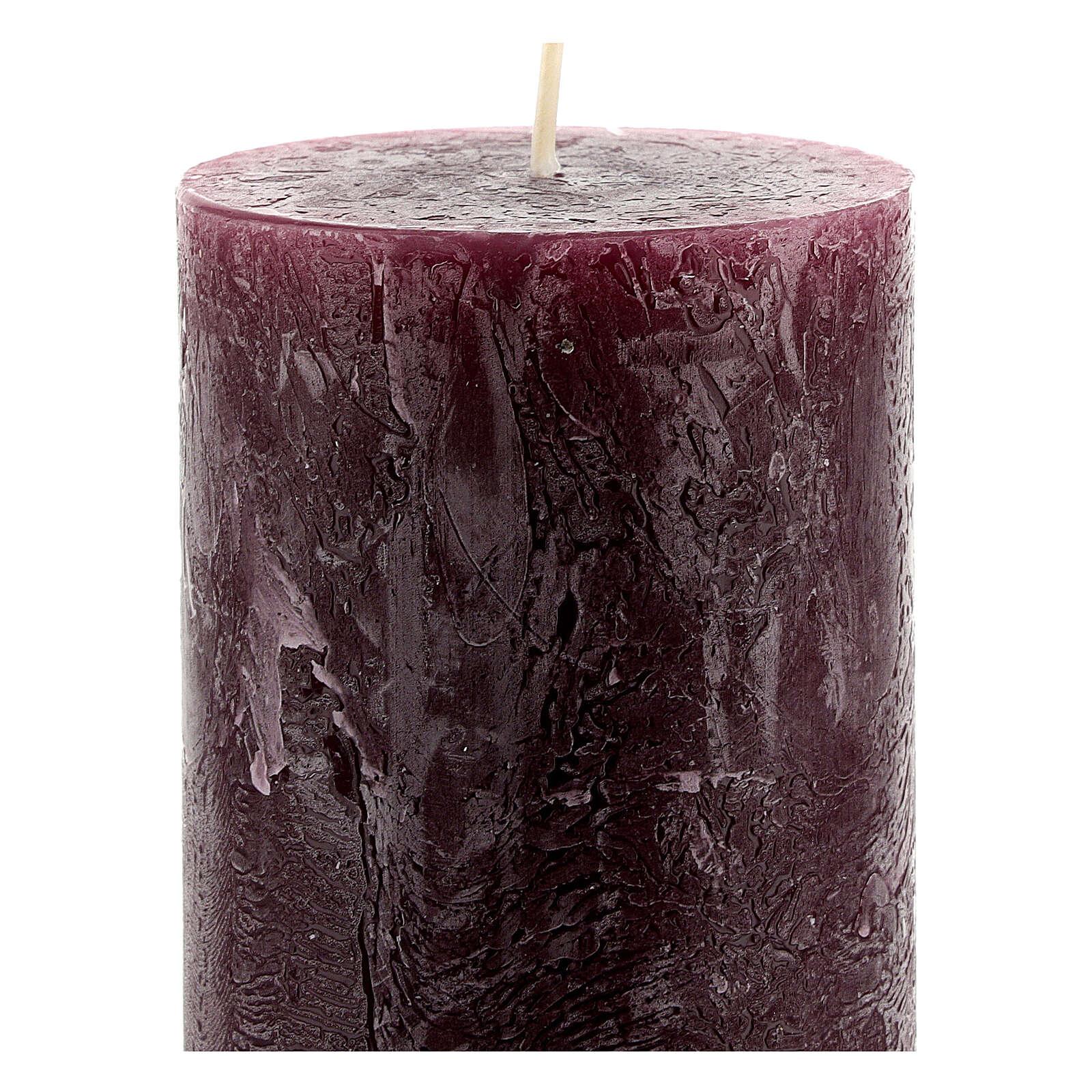 Matt purple rustic candle, set of 4, 170x70 mm 3