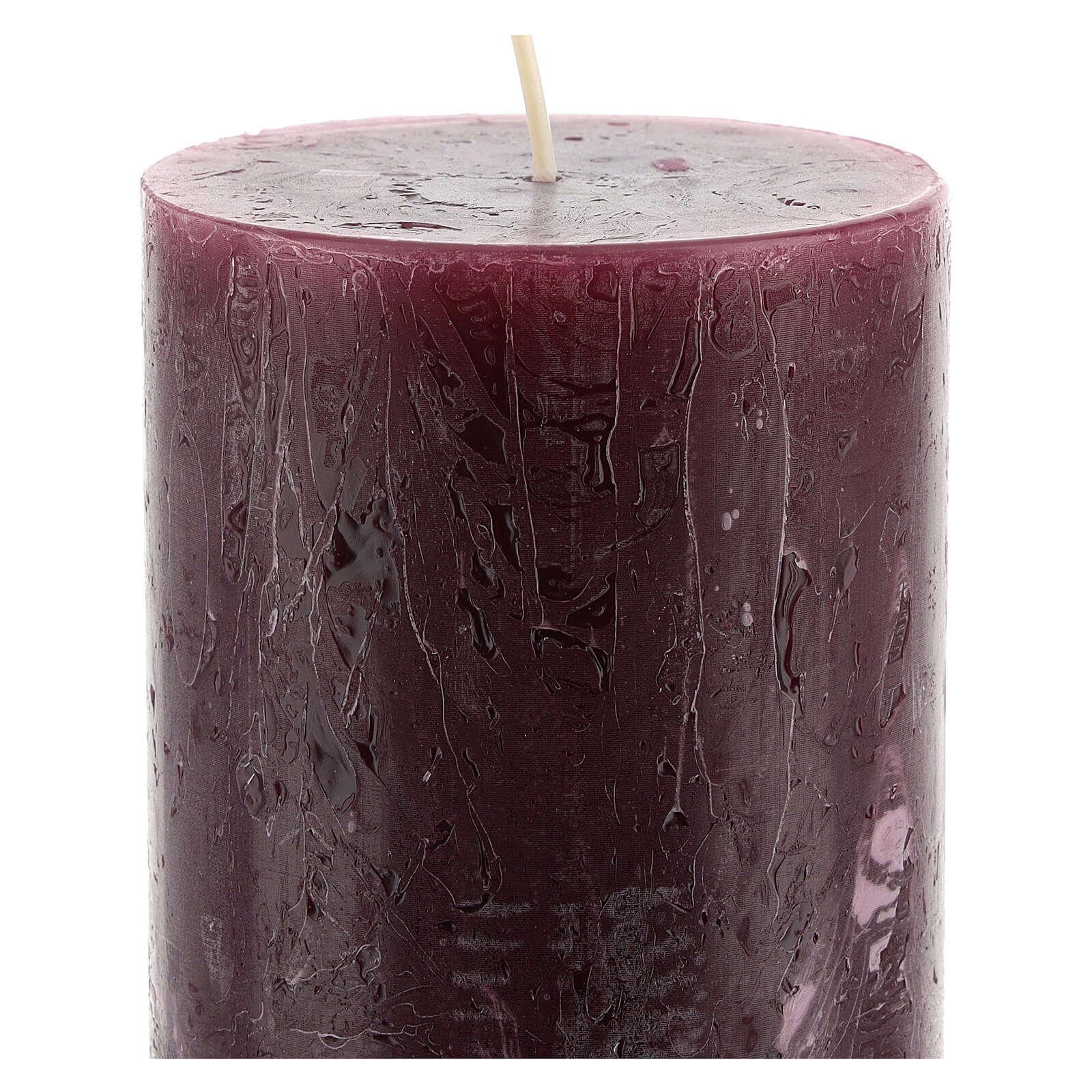 Kerzen rustikaler Stil 12 Stück violett, 140x80 mm 3
