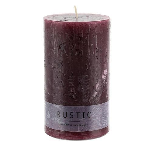 Kerzen rustikaler Stil 12 Stück violett, 140x80 mm 2