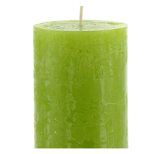 Kerzen rustikaler Stil 4 Stück grün, 170x70 mm 3