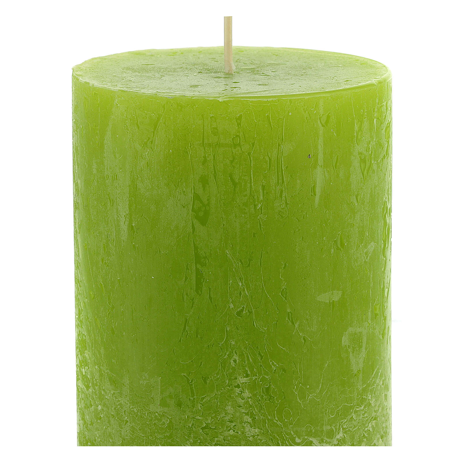 Kerzen rustikaler Stil 12 Stück grün, 140x80 mm 3