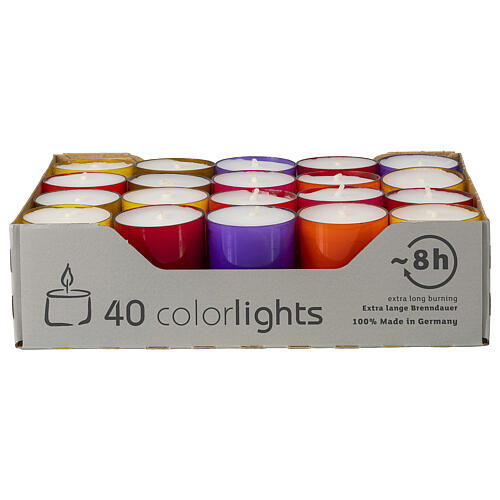 Colourful tealight candles, winter edition, set of 40, 38 mm 1