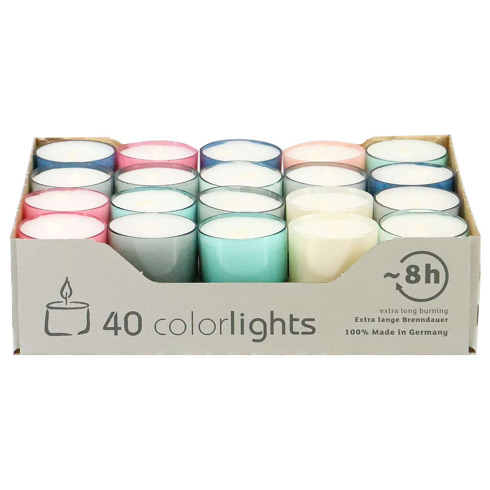 Colourful tealight candles, pastel colours, set of 40, 38 mm 3