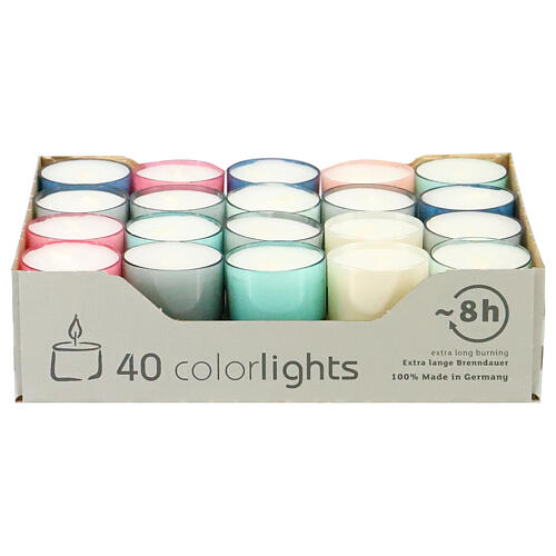 Colourful tealight candles, pastel colours, set of 40, 38 mm 1