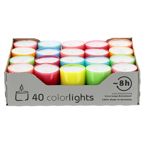 Colourful tealight candles, bright colours, set of 40, 38 mm 1