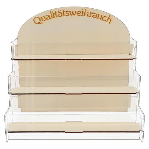 """""""Qualitätsweihrauch"""" Ausstellungsregal aus Holz und Plexiglas fűr Weihrauch mit drei Reihen"""