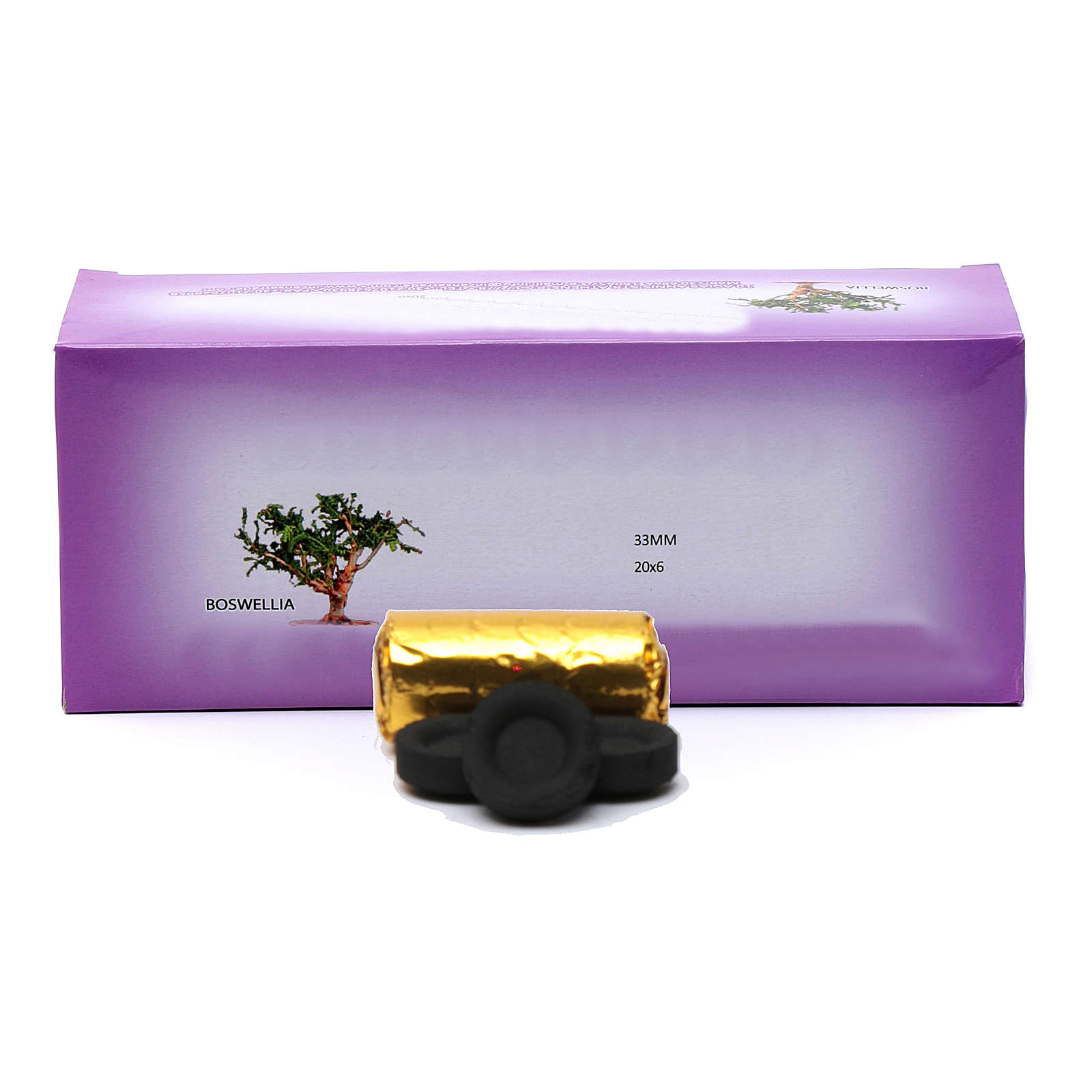 Greek incense charcoals 3,3 cm diameter-120 pieces-50 min 3