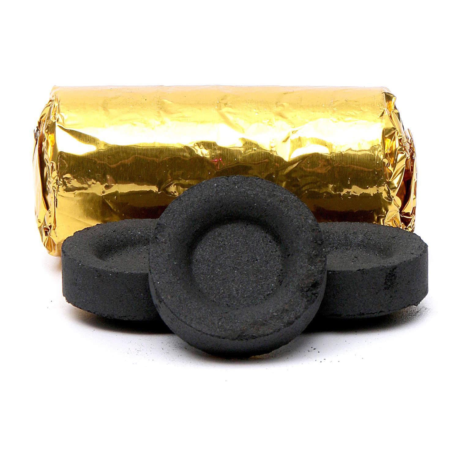 Carvão para incenso grego diâm. 3,3 cm 120 peças 50 min 3