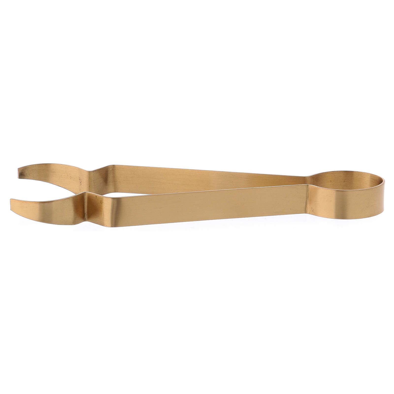 Pincers for coals in matt gold-plated brass 18 cm 3