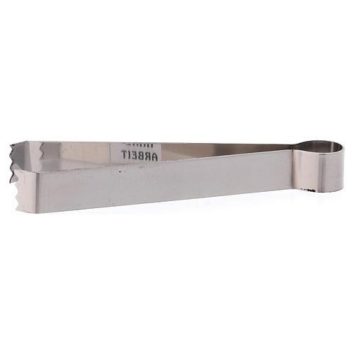 Pincers for coals in matt silver-plated brass 12 cm 1