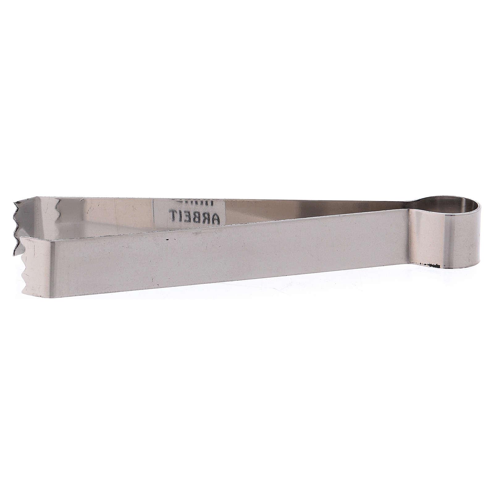 Pinze per carboncini ottone argentato opaco 12 cm 3