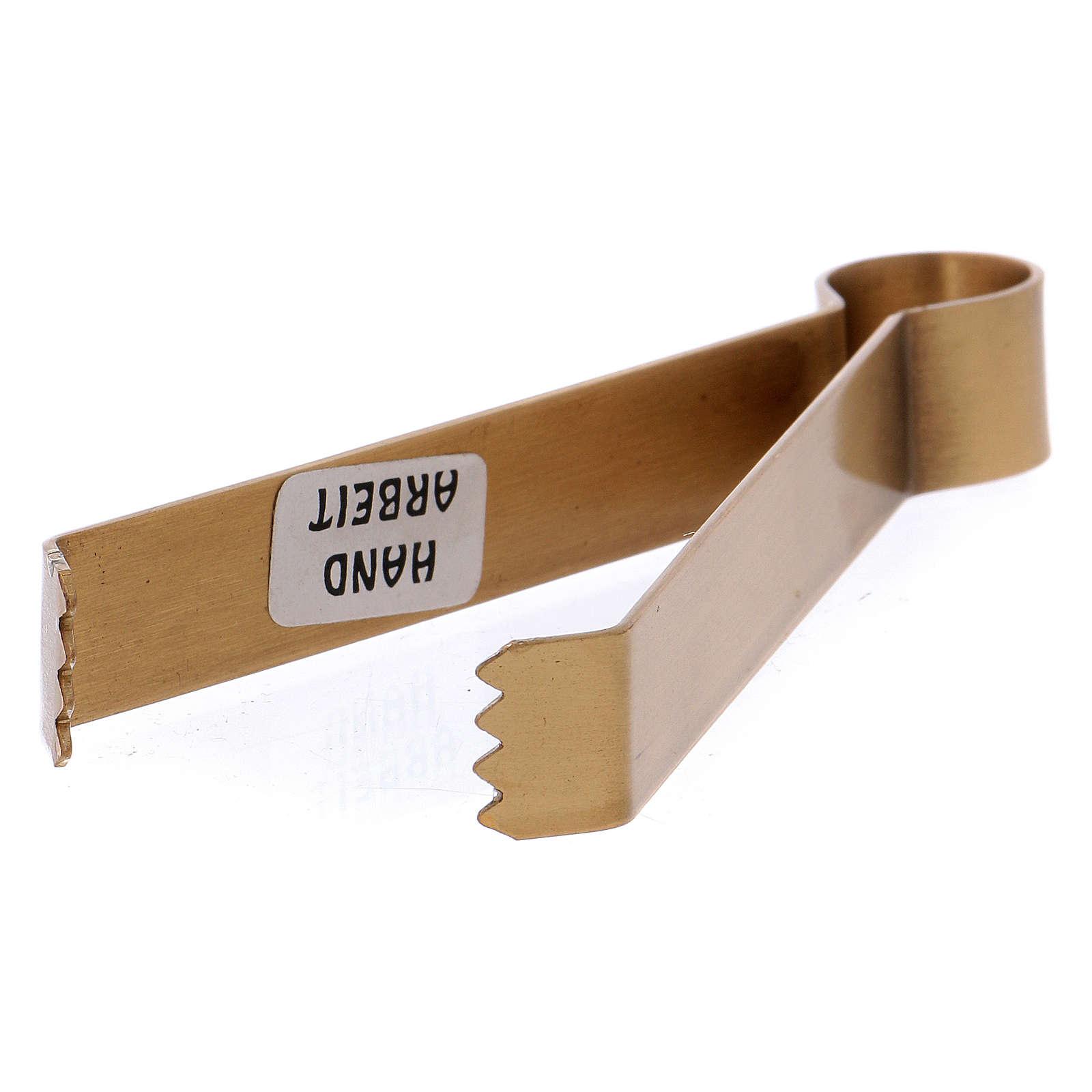 Pincers for coals in matt gold-plated brass 11.5 cm 3