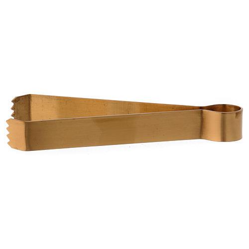 Pincers for coals in matt gold-plated brass 11.5 cm 1