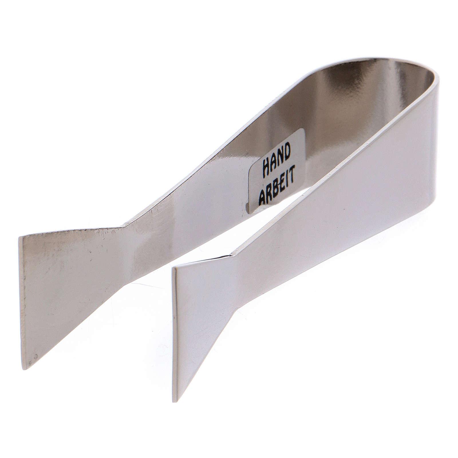 Pince pour hosties et charbons laiton nickelé 10 cm 3