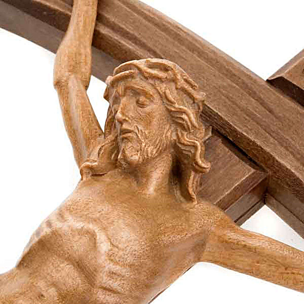 Dark wood curved cross, patinated Christ's body 4