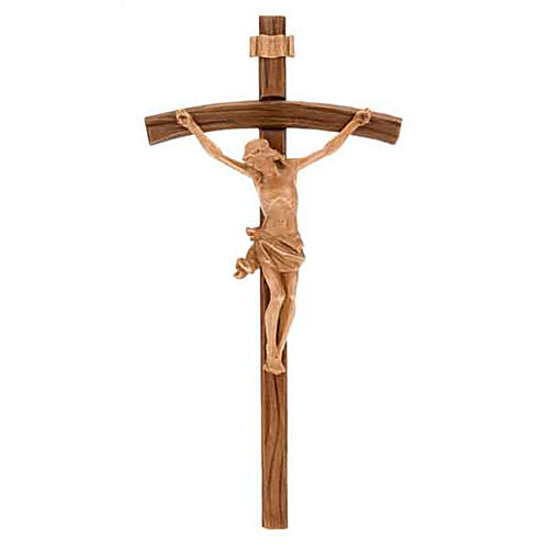 Dark wood curved cross, patinated Christ's body 1