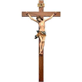 Krucyfiksy z drewna: Krzyż prosty krucyfiks pomalowany