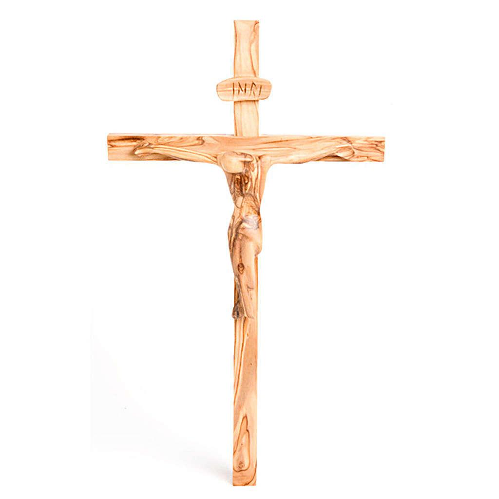 Crucifijo de olivo de Tierra Santa grande 4