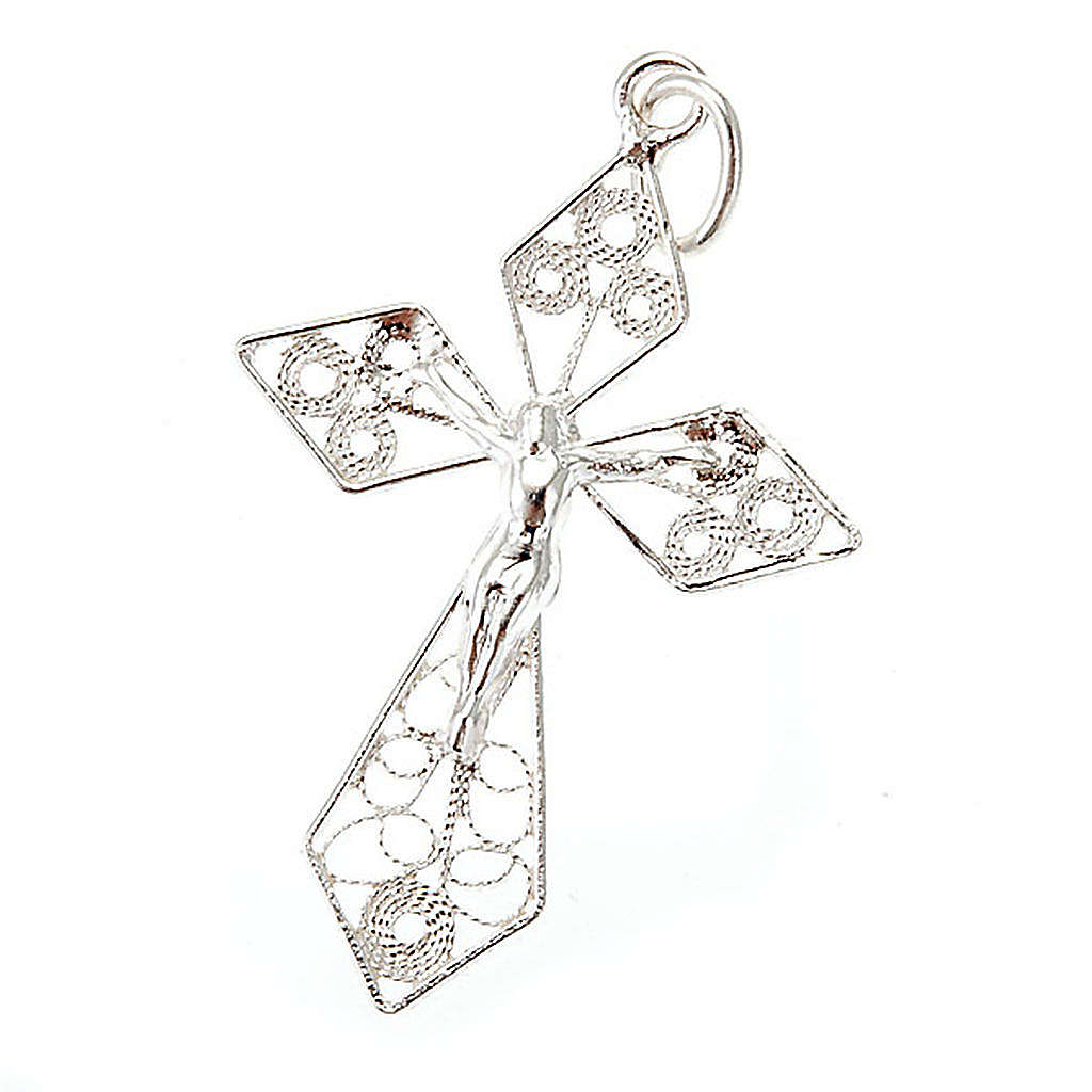Silver filigree cross pendant 4