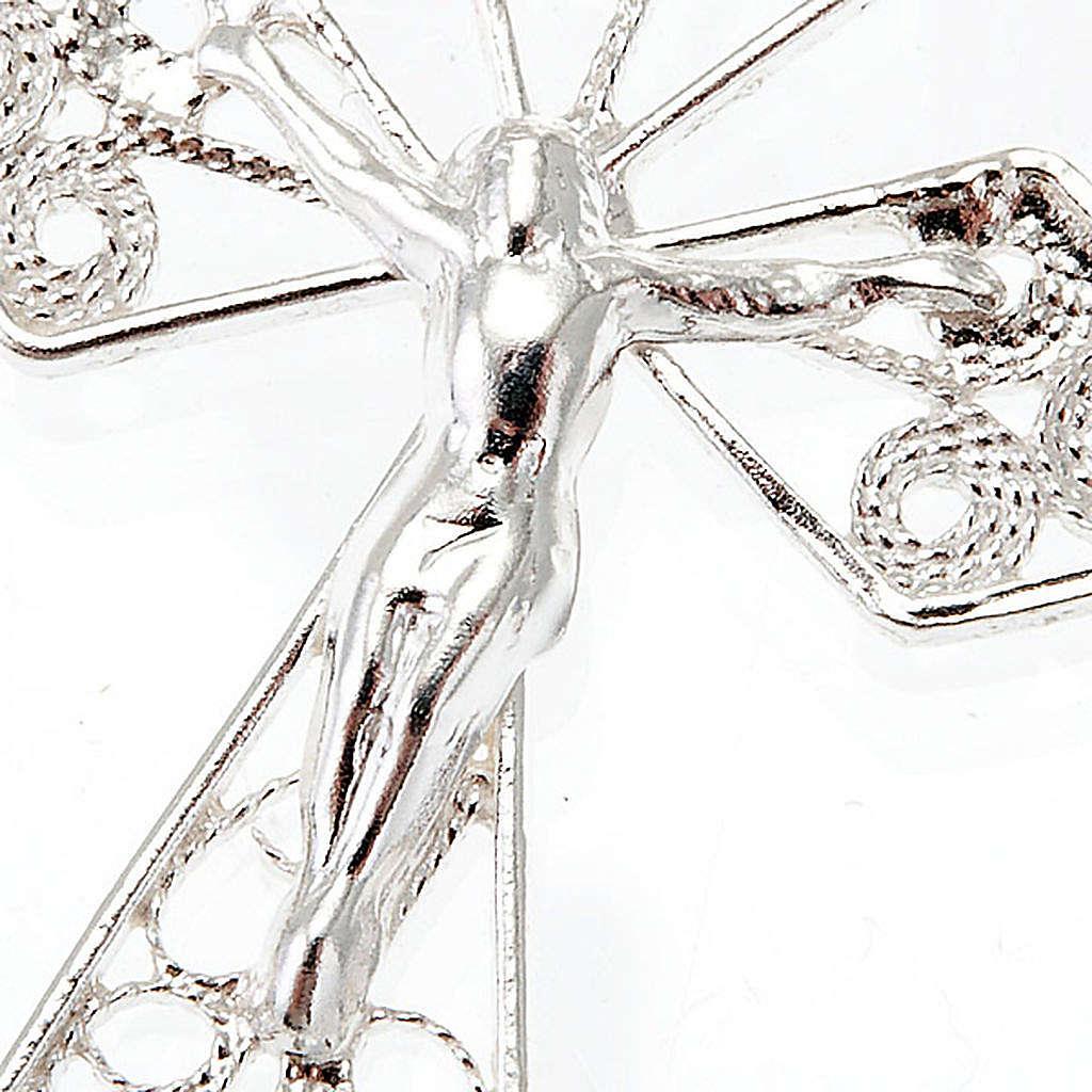 Silver filigree cross pendant 4