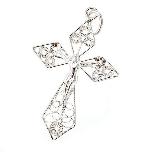 Silver filigree cross pendant 1