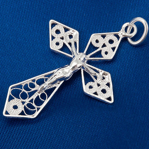 Silver filigree cross pendant 3