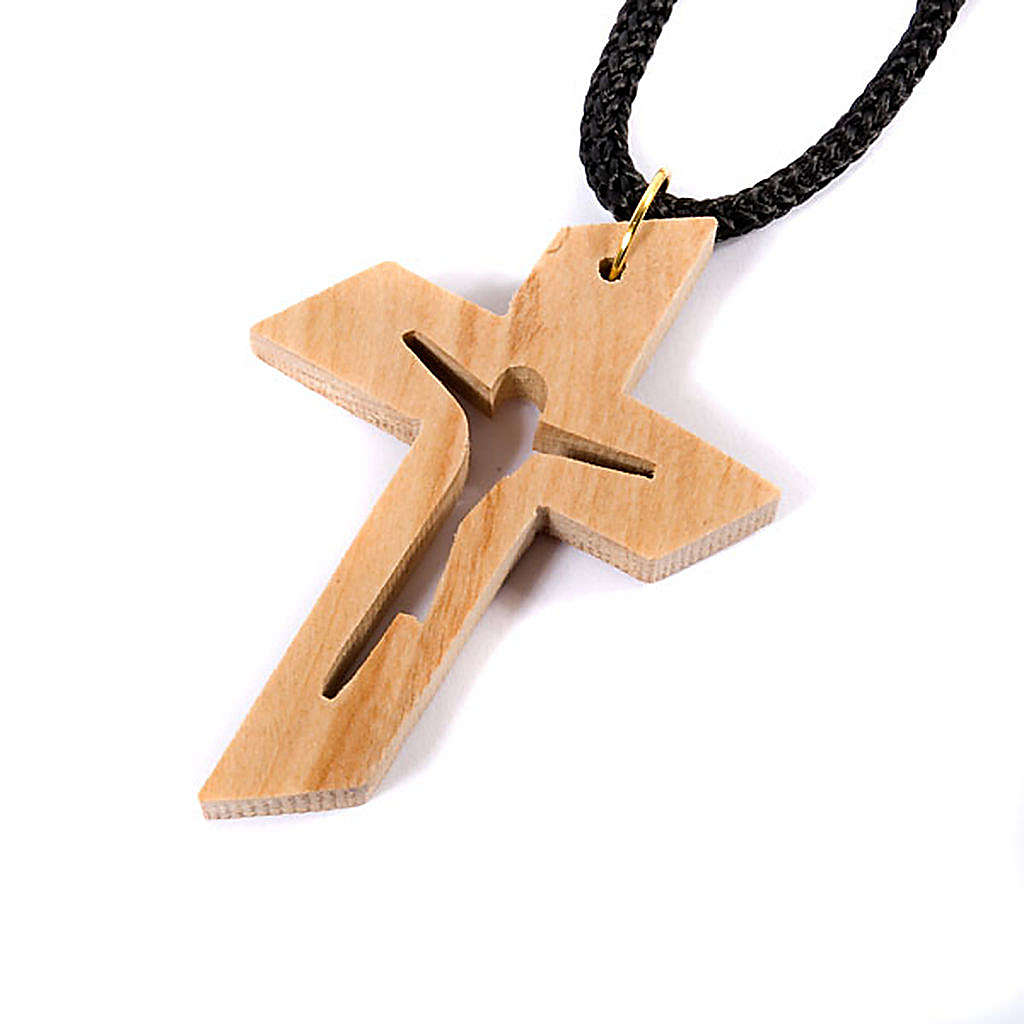 Croix pendentif, en bois d'olivier stylisée 4