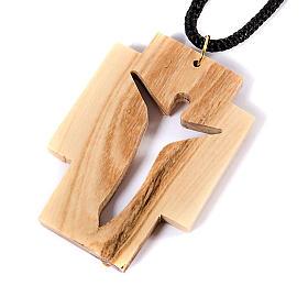 Croix pendentif, en bois d'olivier stylisée s3