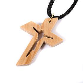 Croix pendentif, en bois d'olivier stylisée s4