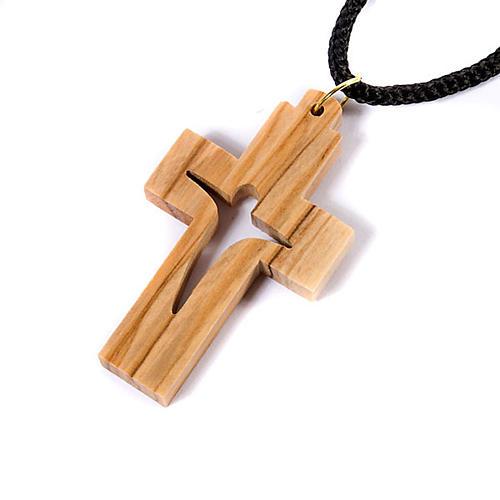 Wisiorek krzyż drewno oliwkowe stylizowany 2