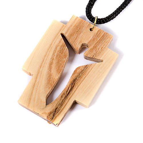 Wisiorek krzyż drewno oliwkowe stylizowany 3