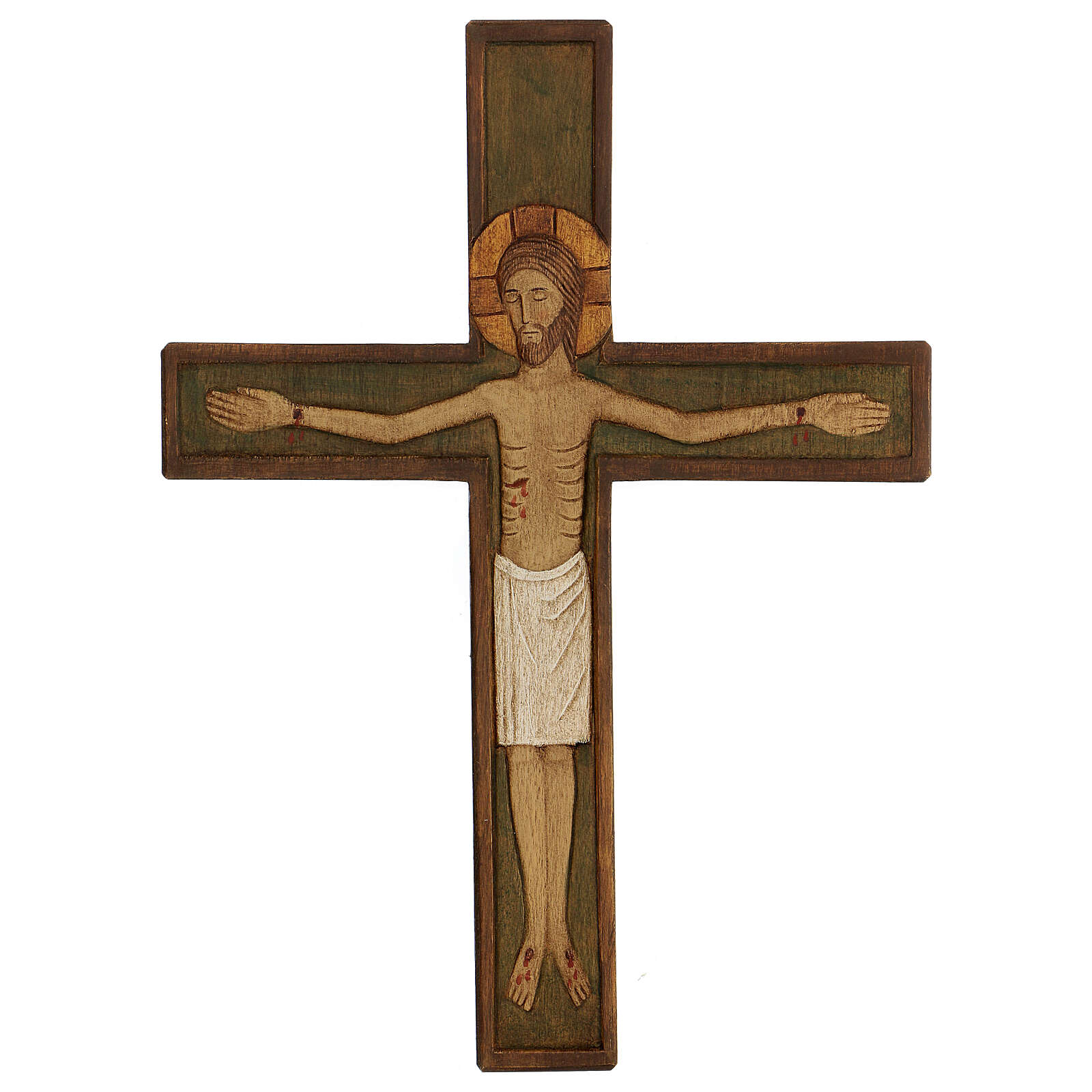 Cristo in croce legno rilievo dipinto 32 cm 4