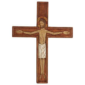 Cristo in croce legno rilievo dipinto 32 cm s5