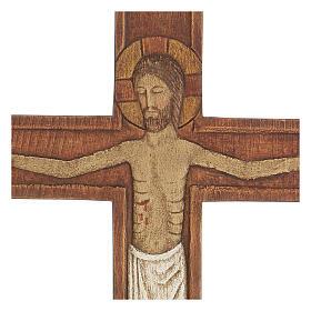 Cristo in croce legno rilievo dipinto 32 cm s6