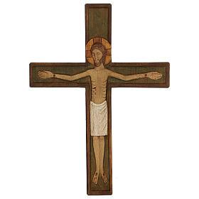 Cristo in croce legno rilievo dipinto 32 cm s1