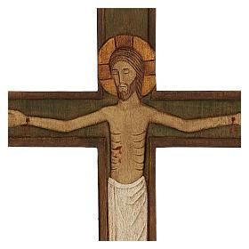 Cristo in croce legno rilievo dipinto 32 cm s2