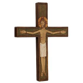 Cristo in croce legno rilievo dipinto 32 cm s3