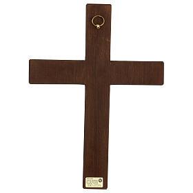 Cristo in croce legno rilievo dipinto 32 cm s4