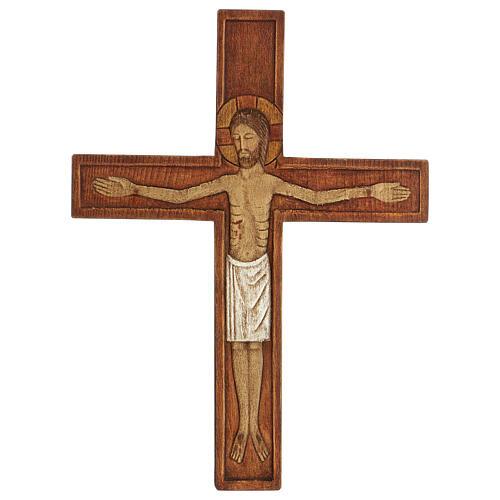 Cristo in croce legno rilievo dipinto 32 cm 5