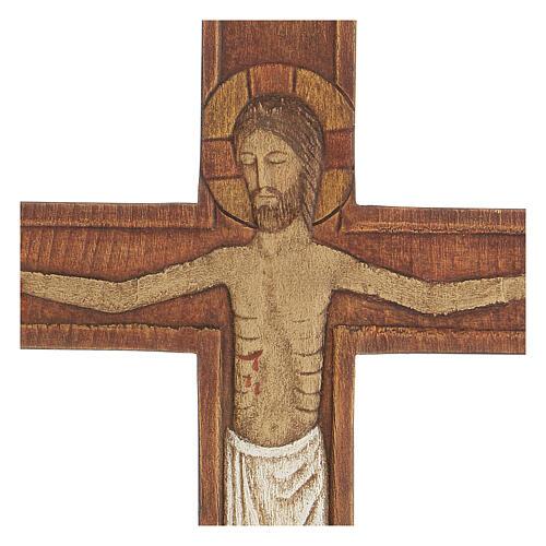 Cristo in croce legno rilievo dipinto 32 cm 6