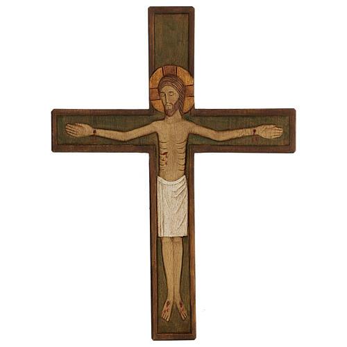 Cristo in croce legno rilievo dipinto 32 cm 1