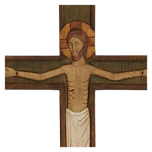 Cristo in croce legno rilievo dipinto 32 cm 2