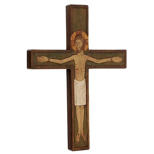 Cristo in croce legno rilievo dipinto 32 cm 3