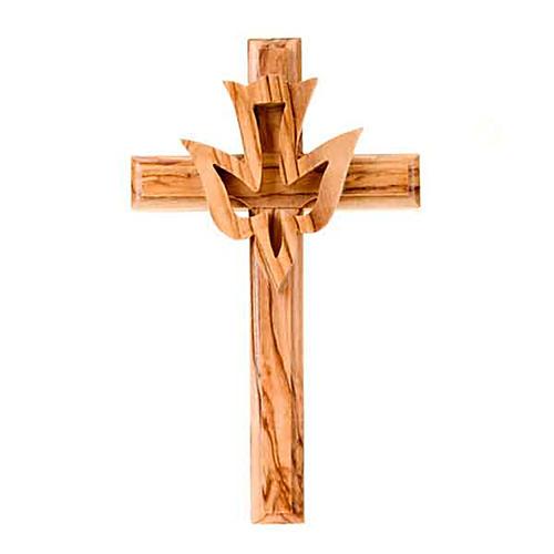 Crucifijo madera de olivo con paloma 1
