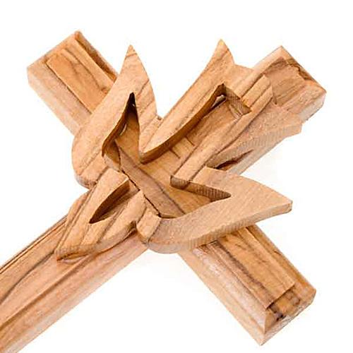 Crucifijo madera de olivo con paloma 2